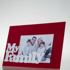 Porta Retratos My Family - Vermelho - 30 x 20 x 1,5 cm