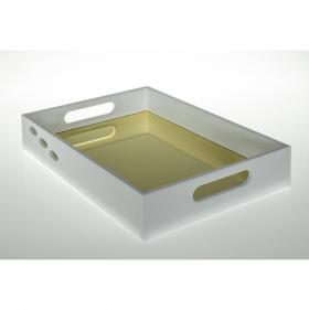 Bandeja para Bebidas Santorini, na cor Branco com fundo em espelho dourado, medindo 35 x 25 x 3,5 centímetros