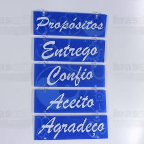 Placa Decorativa Propósitos - 22 x 35 cm - Azul