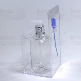 Suporte para Pote de Álcool Gel com Lacre - 11 x 11 x 16 cm - Cristal